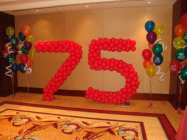 large balloon number sculpture