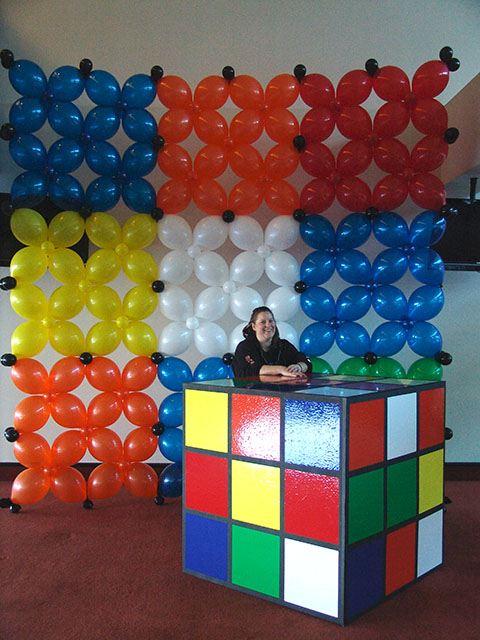 rubiks cube party theme balloon decorations